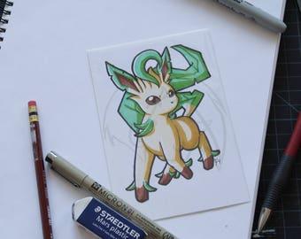 Pokemon Leafeon 4x6 marker drawing