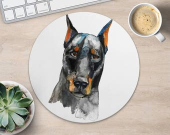Doberman Pinscher Mouse Pad Dog Mouse Mat Fabric MousePad Round MouseMat Her Gift Watercolor MousePad Cute Desk Accessories Office Supplies