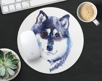 Alaskan Malamute Mouse Pad Dog Mouse Mat Fabric MousePad Round MouseMat Her Gift Watercolor MousePad Cute Mouse Mat Desk Office Supplies