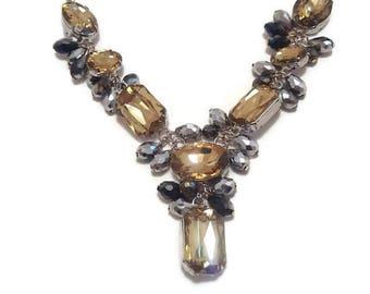 Crystal Bib Necklace - Crystal Statement Necklace - Statement Bib Necklace - Vintage Crystal Necklace - Vintage Bib Necklace - Bib Necklace