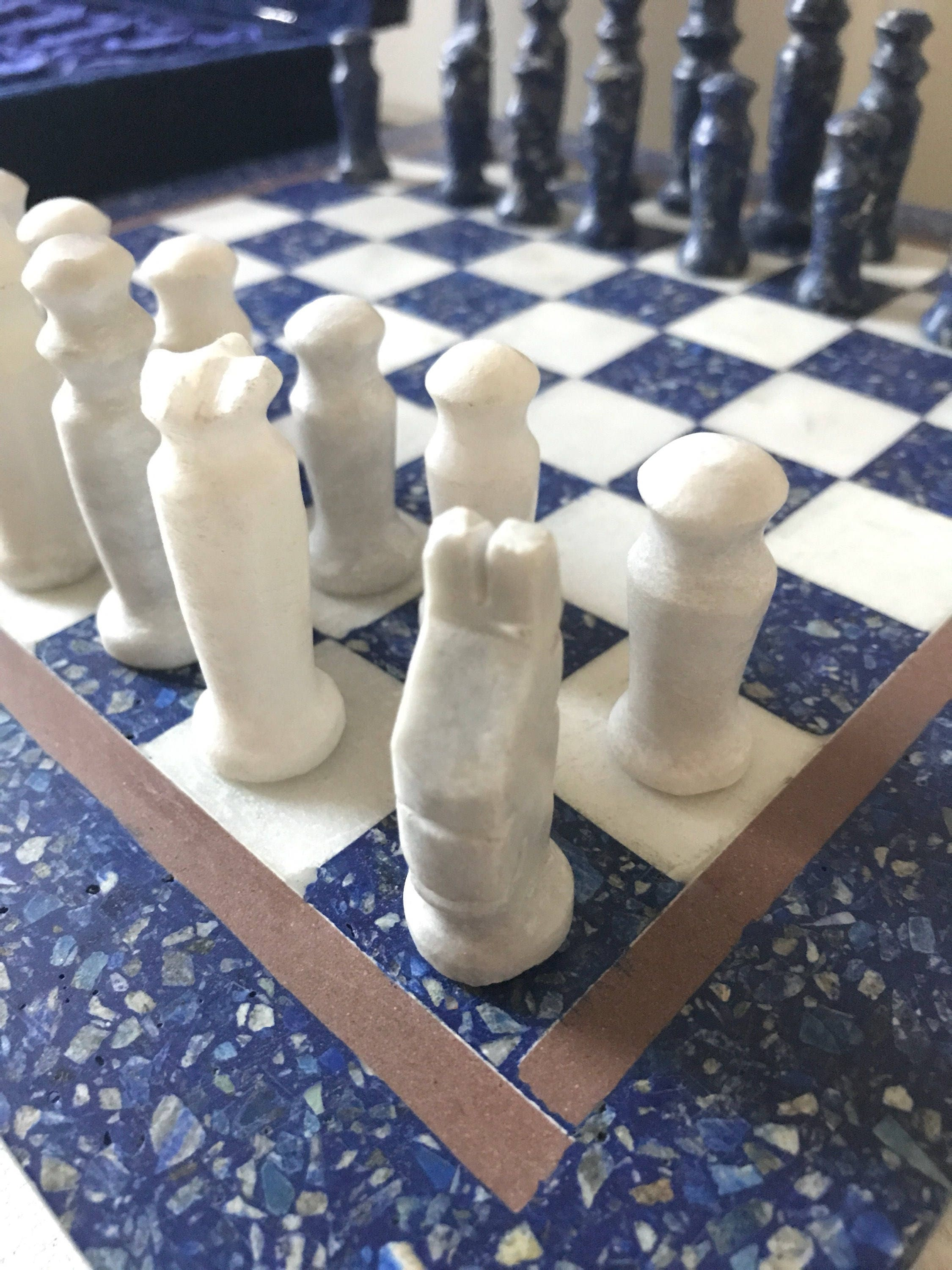 Vintage marble chess set granite chessboard blue and white stone chess set - Granite chess pieces ...