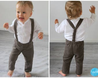 christening Toddler Outfit Trousers with suspenders long sleeve linen shirt babtism suit for boy ring bearer