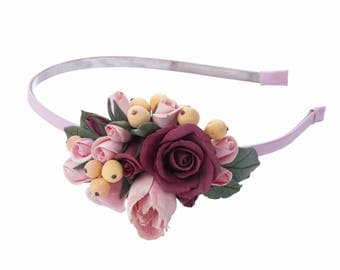 Headband with roses and tulips / single