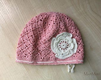 Crochet Baby Girl Beanie (3-9 months) / Cotton Girls Hat / Toddler Girl Beanie with a Flower / Photo Props For Girls