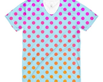 Women's Cute Polkadot crew neck t-shirt, apparel, clothing, girl, gift idea, original design, colorful, pink and orange, blue