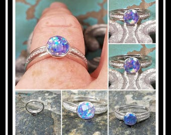 Sterling Silver Memorial Stone Ring /Memorial Ash Jewelry/ Pet Memorial Jewelry/ Ash Ring / Cremation Jewelry/66 Color Options