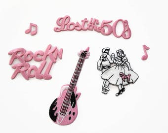 LOST In the 50's Iron On Patch Embroidered Applique Set~ Choice of Couple Dancing Guitar Cruisin Pink Cadillac Car Dice Rock 'n Roll