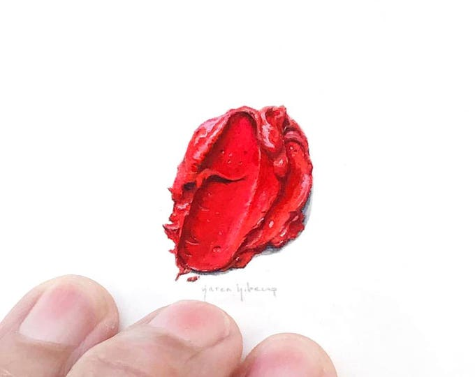 "Print of miniature painting of red paint blob .  1 1/4"" x 1 1/4"" print of tiny watercolor red paint swatch oil paint"