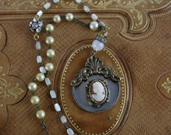 SUMMER SALE Vintage Assemblage Shell Cameo Rosary Necklace