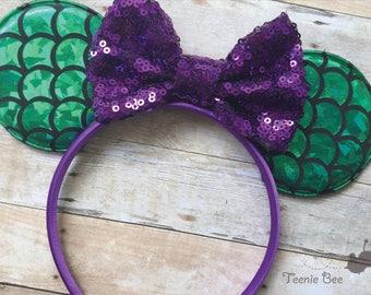 Little Mermaid Ears - Mermaid Minnie Ears - Ariel Ears - Mermaid Mickey Ears - Mermaid Mouse Ears - Kids Disney Ears - Baby Disney Ears