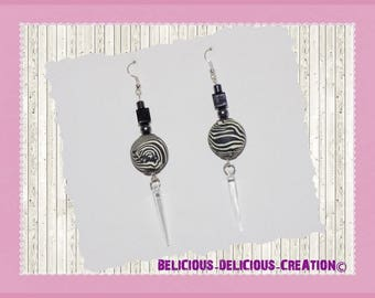 Original earrings! ZEBRAELLE! black and white polymer T 8cms belicious delicious creation