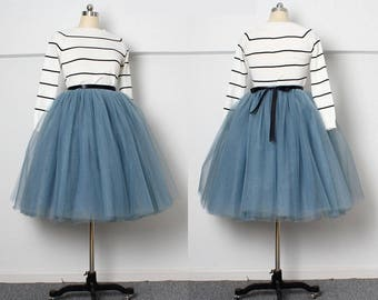 Dusty Blue Knee Length Tulle Tutu Skirt.