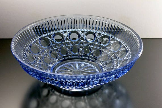 Blue Serving Bowl, Federal Glass, Windsor Blue Pattern, Button and Cane, Blue Pressed Glass