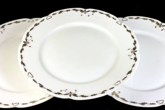 Antique Dinner Plates, Old Abbey, Limoges France, Latrille Freres, Raised Gold, Hand Painted, Set of 3, Rare, Hard to Find