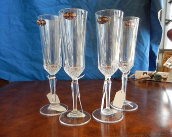 Two Crystal Champagne Flutes