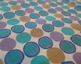 Mid-century Aquatic Tones Circle Pattern Fabric