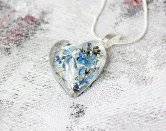 heart jewelry blue necklace valentines jewelry trends terrarium jewelry/for/wife gift/for/mom blue jewelry gift/for/girlfriend jewelry Рю142