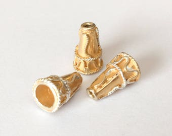 Vermeil Bead Cone Silver/gold Rope Design 10x15mm-1pc