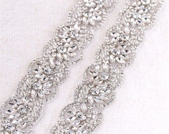 LA VENDRE Silver Crystal Rhinestone Diamante Jewel Applique To Sew Directly Onto Your Dress or  Can make Straps For You.