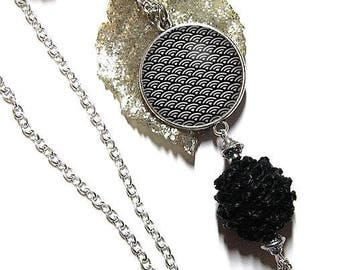 Long necklace with glass cabochon 25 mm * Japanese waves * (261216)