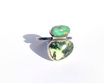 ANTARES ring - double green stone - damele turquoise - size 8