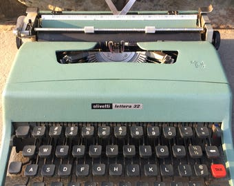 Vintage Blue Olivetti Lettera Typewriter...32. Old. Typing. Office. Keyboard. Letters. Keys. 1963. Shift. Journalism. Ribbon. Typing.