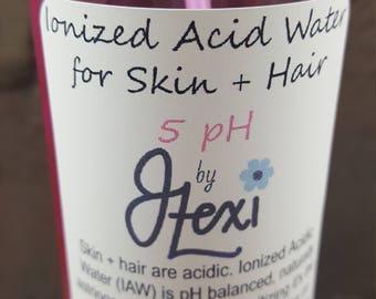 Ionized Acid Water,Hair Water, Beauty Water, Acid Water, acid rinse, hydrating water, natural hair, twistouts, hair, pH balanced, 5 pH