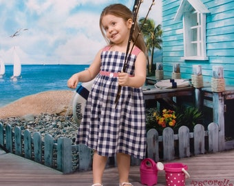 Baby girl summer dress in vichy blue navy and vichy red