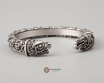 Viking Bracelet Oseberg Style With Odin's Ravens Hugin & Munin Scandinavian Bracelet Viking Jewelry Pewter art. 001-092