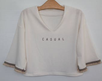 Crop womens clothing cop top CASUAL style indie clothing tshirt