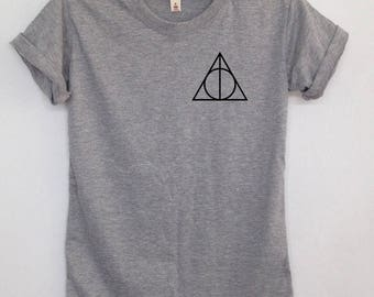 Deathly Hallows screen pocket tshirt Harry potter clothing graphic tee