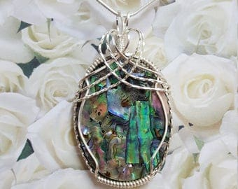 Abalone Shell Wire Wrapped Pendant.  Wire Wrapped in Silver.