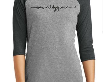 SAVED BY GRACE Raglan 3/4 Sleeve T-Shirt