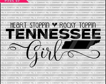ON SALE Tennessee Girl, Quote DIY Cutting File - Svg, Png, jpeg, pdf Files - Silhouette Cameo/Cricut
