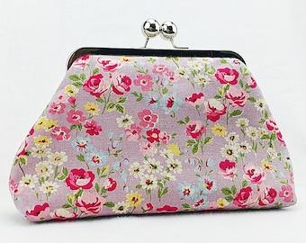Handmade Kisslock Purse - purple garden floral/ Metal frame clutch purse/ Clasp purse/ Clutch purse