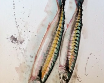 """Original watercolor painting, Two Fish, with mat 10""""x8"""", 1803173"""
