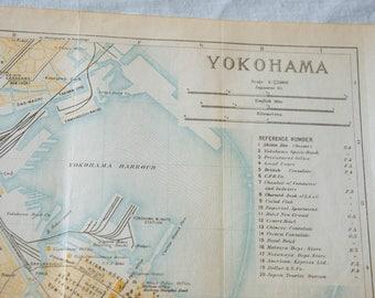 1933 Yokohama Japan Vintage Map