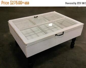 SUMMER SALE rustic coffee table - shadow box coffee table - reclaimed windows - window coffee table - distressed coffee table - 6 pane coffe