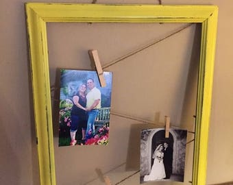 SUMMER SALE Beautiful distressed yellow picture frame with twine, picture display, shabby picture frames, wedding picture frames, wedding pi