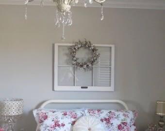 ON SALE 6 pane wood window - vintage wood window frame - rustic window frame - six pane wood window - wreath hanger - diy window ideas - woo
