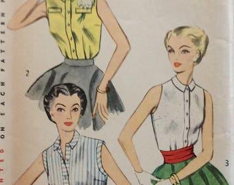 Simplicity 4238 misses blouse size 14 bust 32 vintage 1950's sewing pattern  Uncut. Factory folds