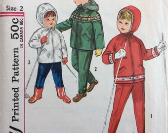 Simplicity 4636 child's hood jacket and pants size 2 vintage 1960's sewing pattern
