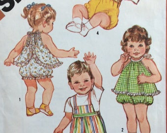 Simplicity 6011 child's overalls, top & panties size 12 months vintage 1980's sewing pattern