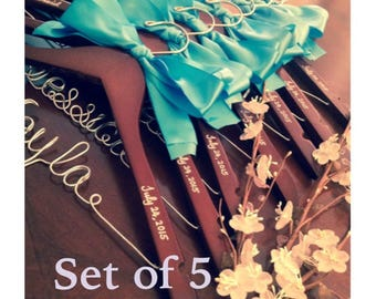 Set of 5--personalized hanger, wedding hanger, bridal hanger bridal gift, customized hanger, bridesmaid hanger