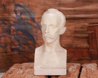 Vintage statuette, Dzerzhinsky bust, NKVD leader, Gypsum statuette, USSR intelligence Felix Dzerzhinsky, Old figurine, Home decor, Gift idea