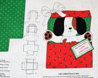 Cranston Print Work The Christmas Puppy, Christmas Panel, Cranston Fabric, Christmas Fabric, Christmas Puppy, VIP Cranston Fabric