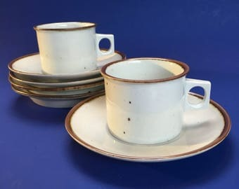2 Dansk Denmark Pottery Mid Century Cups and Saucers Mugs Stoneware