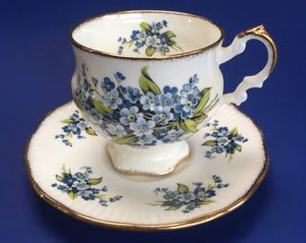Elizabethan Blue Floral Vintage Bone China Tea Cup and Saucer England