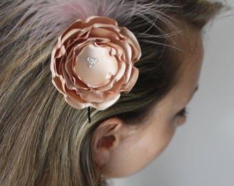 Old nude pink beige flower hair pin
