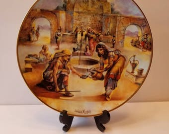 """Authentic Artist Signed Yiannis Koutsis Collectors Plate """"Rebekah at the Well"""" Plate Number 7940CE THE CREATION Series Royal Cornwall China"""